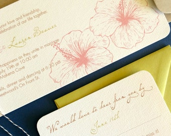TWINE COLLECTION- Deposit, Vintage Hawaiian invitation, chartreuse and coral