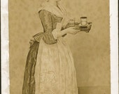 vintage photo 1789 Cabinet Photo of Painting Pa's Mother Apron Servant RARE