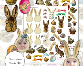 Easter Victorian Style Chenille Bump Ornaments digital collage sheet  set -- two sheets and a PDF tutorial
