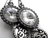 Silver OM Earrings with Rivoli Crystals and Black Gunmetal Bezels, Yoga Jewelry, Yoga Earrings, Spiritual Jewelry, Hindu Buddhist Jewelry