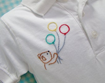 Golf Shirt - Polo Shirt- White - 12 months - Boy - Hand Embroidered - Bear With Balloons (Ready to ship)