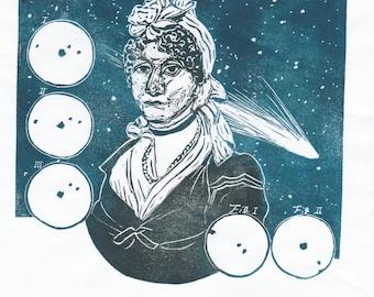 Linocut Portrait of Caroline Herschel, Pioneering Woman in Astronomy with Comets - Portrait Astronomer Caroline Herschel Woman in STEM Print