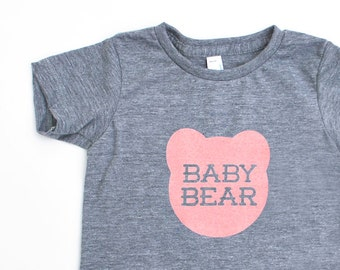 Baby Bear Infant TriBlend Heathered Grey TShirt with Pink Print