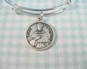 Peregrine Patron of Cancer, Saint Peregrine Medal, Patron Saint of Cancer Victims,  Silver Bangle Bracelet, Adjustable