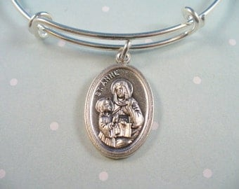 Saint Anne, Patron Saint of Pregnant Women and Childless Couples, Stainless Steel Bangle Adjustable Size, Fertility, Pregnancy