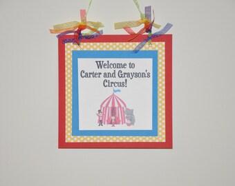 Circus Door Sign. Happy Birthday. Carnival. Big Top. Elephant. Ringleader. Door sign