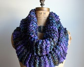Chunky knit cowl. Green. Purple. Blue. Circle scarf. Infinity scarf.
