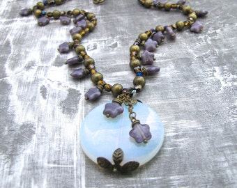 Round Opalite Pendant with Purple Czech Glass Star Beads One of a Kind Statement Necklace