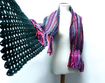 Handwoven and Crochet Shawl Scarf - Pink Purple Orange Multicolor Wool Stole with Green Crochet Lace and Wood Brooch Button - MADE TO ORDER