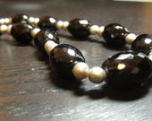 Onyx and Silver Pearl Necklace
