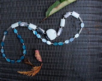 Beaded necklace / TERRY  Dove blue tones  Blueish greys  Mother of pearl