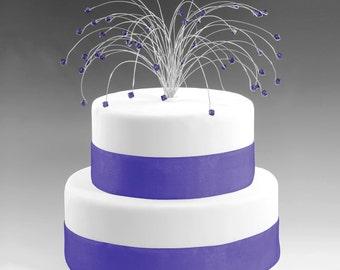 Wedding Cake Topper Silver with Purple Velvet Swarovski Crystal Elements Fireworks Spray Birthday Cake Topper Decor Decoration