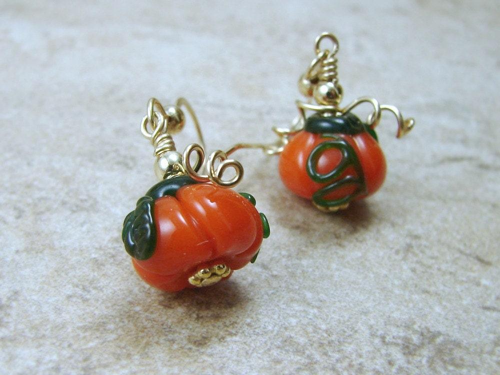 pumpkin earrings glass gold filled