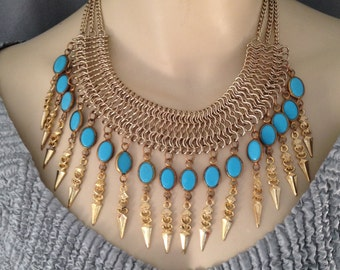 Egyptian Revival Bib, Collar, Chain and Glass Scarab Fringe Statement Necklace, Matching Earrings, Color Options