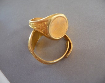 2 Brass Rings with 9 mm Setting - Floral Victorian (2)