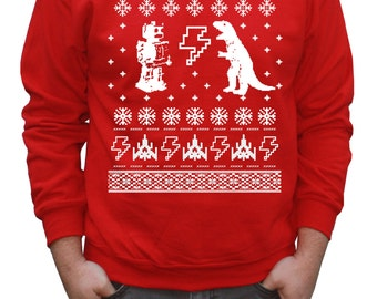 Ugly Christmas Sweater Geeky Pullover Sweatshirt (Red)