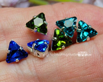 Vintage 6mm Swarovski Triangle Sew On Rhinestone 2pcs Choose from Sapphire Olivine or Blue Zircon Crystal Sew On Jewelry Craft Supply