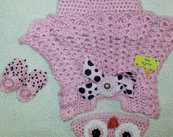 Baby girl Crocheted pink owl set : Dress, Diaper cover, hat anb booties