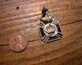 Knights Templar Masonic York Rite Rolled Gold Watch FOB Garnet Inlay