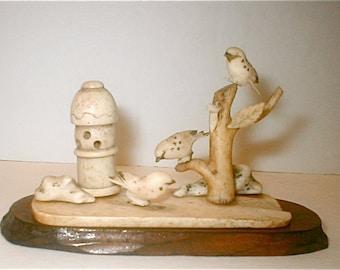 Japanese Serenity Garden Scene Antique Carved Bone Miniature Woodland Birds Sculpture Vintage 1910