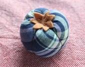 navy/yellow madras hand-stitched tomato pincushion