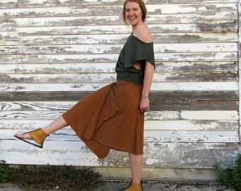 ORGANIC Wanderer Wrap Below Knee Skirt ( light hemp and organic cotton knit) - Organic Wrap Skirt