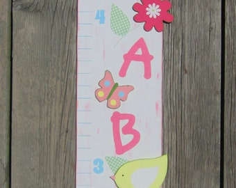 LOVE BIRDS Wood Growth Chart - Personalized Initial - Original Hand Painted Wood Keepsake