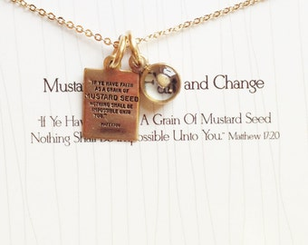 Mustard Seed Charm with Stamped Quote Pendant, Religious Jewelry - Faith Necklace, Custom Gold Charm, Mothers Day gift, Graduation gift