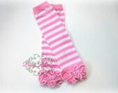 Pink n White Baby Leg Warmers. Striped Legwarmers. Girls Pink Candy Cane Christmas Ruffle Legwarmers.