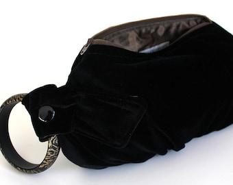 Black Velvet Bracelet Wristlet Clutch