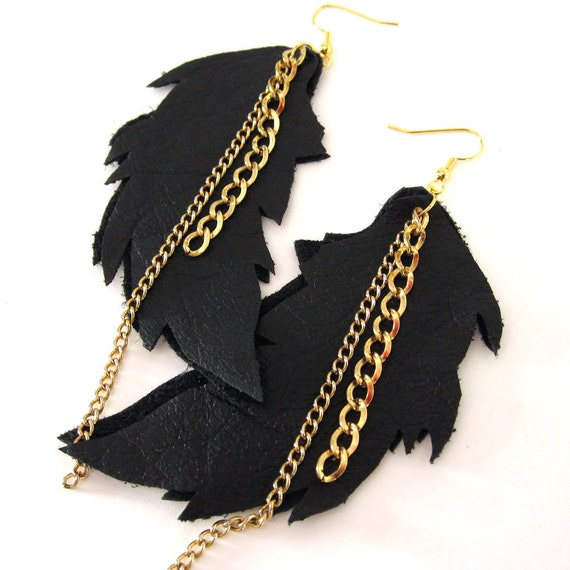 Leather Feather Earrings with multi Long Gold Chain