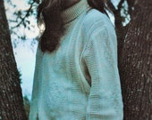 Vintage Cable Knit Sweater Womens Brian International Turtleneck Natural
