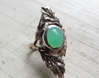 Chrysoprase with Bronze and Sterling Silver- The Oak Leaf Ring