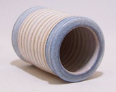 Toothbrush Holder for One in Soft White and Blue is handmade stoneware