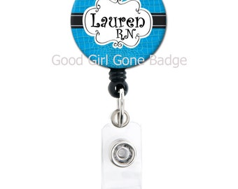 Retractable ID Badge Holder - Personalized Name - Alligator Choice of Colors - Cute Badge Reel
