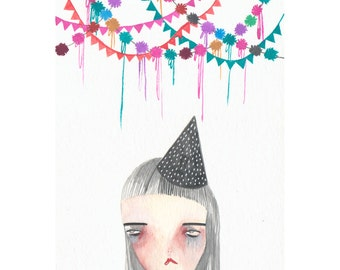 original painting on paper-birthday blues