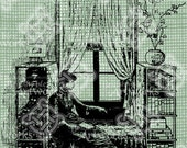 Digital Download Victorian lady sitting in a window digi stamp, digis, digital stamp, Antique Illustration