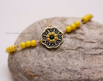 Lotus charm bracelet Boho Gypsy jewelry yellow beaded gold green charm beaded bracelet