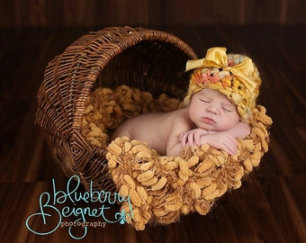 Newborn Photography Prop Dark Yellow Pom Pom Blanket 'Golden' Mustard Brown PomPoms