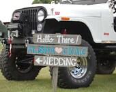 Hello! Welcome Sign Wedding Signs Arrow Directional Outdoor Weddings Hand Painted Reclaimed Wood Vintage Weddings Road Signs Barn Wood Teal