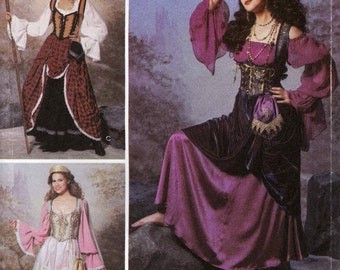 Steampunk Pirate Corset blouse overskirt costume Fortune teller maiden theatre historical sewing pattern Simplicity 9966 Sz 6 to 12