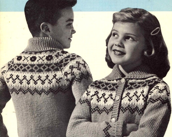 Lapp Fjord Cardigans childrens sweater knitting pattern Beehive No 1027 cardigan pattern Vintage 50s Retro style sweaters Sz 8 to 12