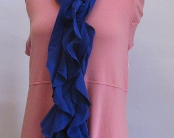 Ruffled Scarf Neckace  Blue Cotton Handmade by FashionGreenTBags
