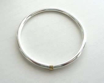 Sterling Silver and 14k gold Minimalist Bangle by Stilosissima - California