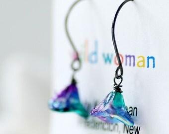 Peacock Earrings, Flower Earrings, Bridesmaid Earrings, Garden Wedding, Nature Jewelry - Posies