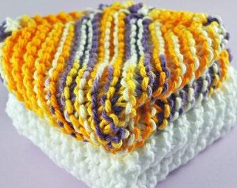 Handmade Dish Cloths - James Madison - 100 Percent Cotton - Hand Knit Wash Cloths and Dish Cloths - Gold and Purple