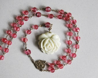 Vintage Rosary Necklace, Pink Crystal Beads, White Porcelain Rose, Wedding Accessories, Sterling Silver Rosary, Silver Religious Medal