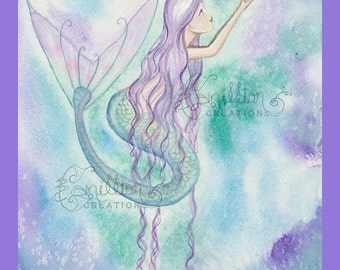 Colorful Bubbles  Mermaid Print  from Original Watercolor Painting by Camille Grimshaw