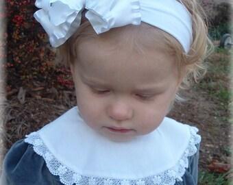 white baby headband, christening headband, baptism hair bows, infant headbands, flower girl clips, double ruffle bows, little girl hair bows