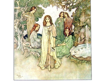 Dulac Fairy Tales - Garden of Paradise, Hans Christian Andersen - 1979 Vintage Book Plate